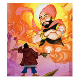 Aladdin Commanding the Genie  Illustration from 'Aladdin and His Wonderful Lamp'