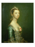 Lady North in a Blue and White Dress  1757
