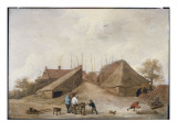 A Farm Yard with Figures Round a Table