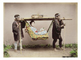 Japanese Geisha Being Carried in a Litter