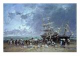 Unloading the Newfoundland Fishing Boat  1873