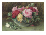 Still Life with a Bowl of Pink  Yellow and Red Roses  1883