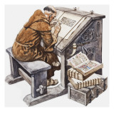 A Monk at His Desk in a Scriptorium