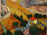Landscape with House and Ploughman, 1889 Reproduction d'art par Vincent Van Gogh