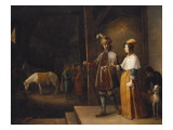A Lady and a Gentleman Entering a Stable