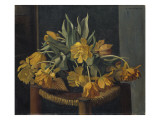 Double Yellow Tulips on a Wicker Chair  1923