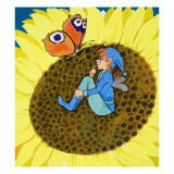 Fairy and Butterfly on a Sunflower
