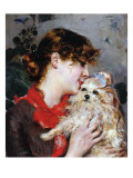 The Actress Rejane and Her Dog  C1885