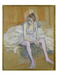 A Seated Dancer with Pink Stockings  1890
