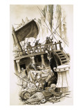 Sailing Ship with Cattle on Board