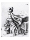 Woman Playing at a Keyboard  1635