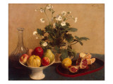 Flowers  Dish with Fruit and Carafe  1865