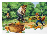 Brer Rabbit Spotting Bear and Fox Stealing Carrots