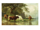 Cattle Watering in a River Landscape  19th Century