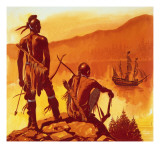 American Indians Looking at Invaders' Ship