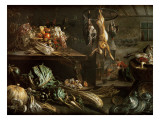 Kitchen Interior with Still Life  Maid by the Fire