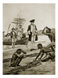 Captain Cook Landing in Tasmania  1777