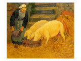 A Young Girl Feeding Two Pigs  1889