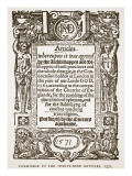 Titlepage to the Thirty-Nine Articles  1571