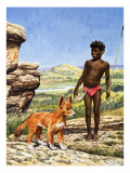 Aborigine Boy with Dingo
