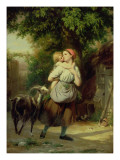A Mother and Child with a Goat