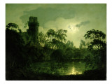 A Moonlit Lake by a Castle