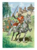 A Knight Outside a Castle