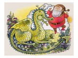 Dragon with Plump Bearded Man