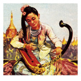 Burmese Girl Playing the Harp