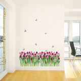 Tulips and Butterflies Purple Pink