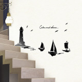 Serene Lighthouse Sailboats