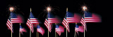 US Flags and Fireworks