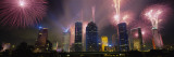 Fireworks Over Buildings in a City  Houston  Texas  USA