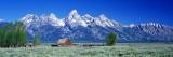 Barn on Plain Before Mountains  Grand Teton National Park  Wyoming  USA