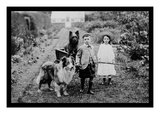 Boy and Girls with Two Dogs and a Wagon