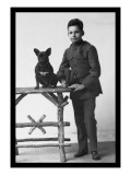 Boy with French Bulldog