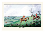 Fox Hunters and Hounds in an Open Field