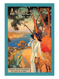 Antibes  Lady in White with Parasol and Dog