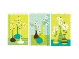 Retro Flowers in Vase Triptych