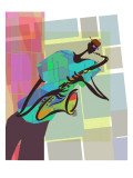 Saxophone Jazz Player on Colorful Geometric Background