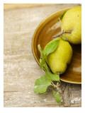 Pears on Brown Ceramic Plate