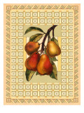 Pears on Patterned Background