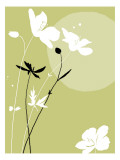 Black and White Flowers on Olive Background