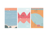 Sailboats and Lake II Triptych
