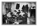 Five Immigrant Women Sit at a Table and Sew