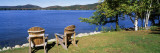 Adirondack Chairs on a Lawn  Fourth Lake  Adirondack Mountains  Adirondack State Park  NY  USA