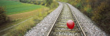 High Angle View of a Balloon on a Railroad Track  Germany