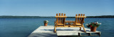 Rear View of Two Adirondack Chairs on a Dock  Minnesota  USA