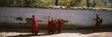 Monks Behind a Wall  Paro  Bhutan