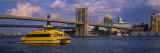 Water Taxi in a River  Brooklyn Bridge  East River  New York City  New York  USA